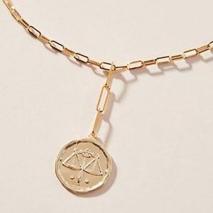 Anthropology zodiac coin necklace